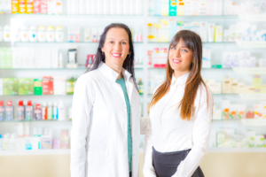 pharmacist and the woman smiling